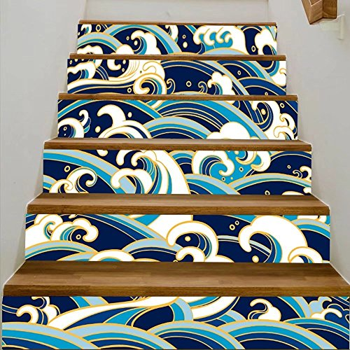 vanfan 3D Creative traditional oriental seamless pattern with ocean waves foam splashes vector backdrop DIY Refurbished Stairs Stickers Removable Waterproof Stairs Mural(39.3