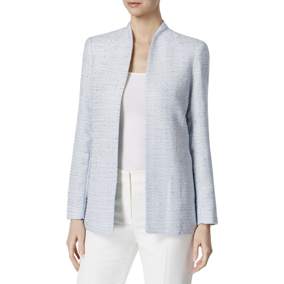 Calvin Klein Women's Long Open Tweed Jacket, Serene, 12