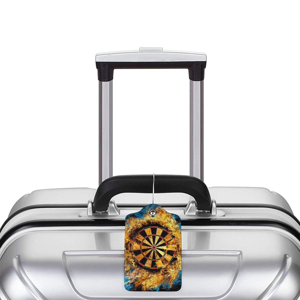 Godzigod Luggage Tags PU Leather Suitcase Card Tag with Stainless Steel Loop Travel Baggage Handbag Tag Labels Travel Accessories Flaming Dartboard Sports Game