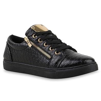 Sneaker Kroko Schwarz