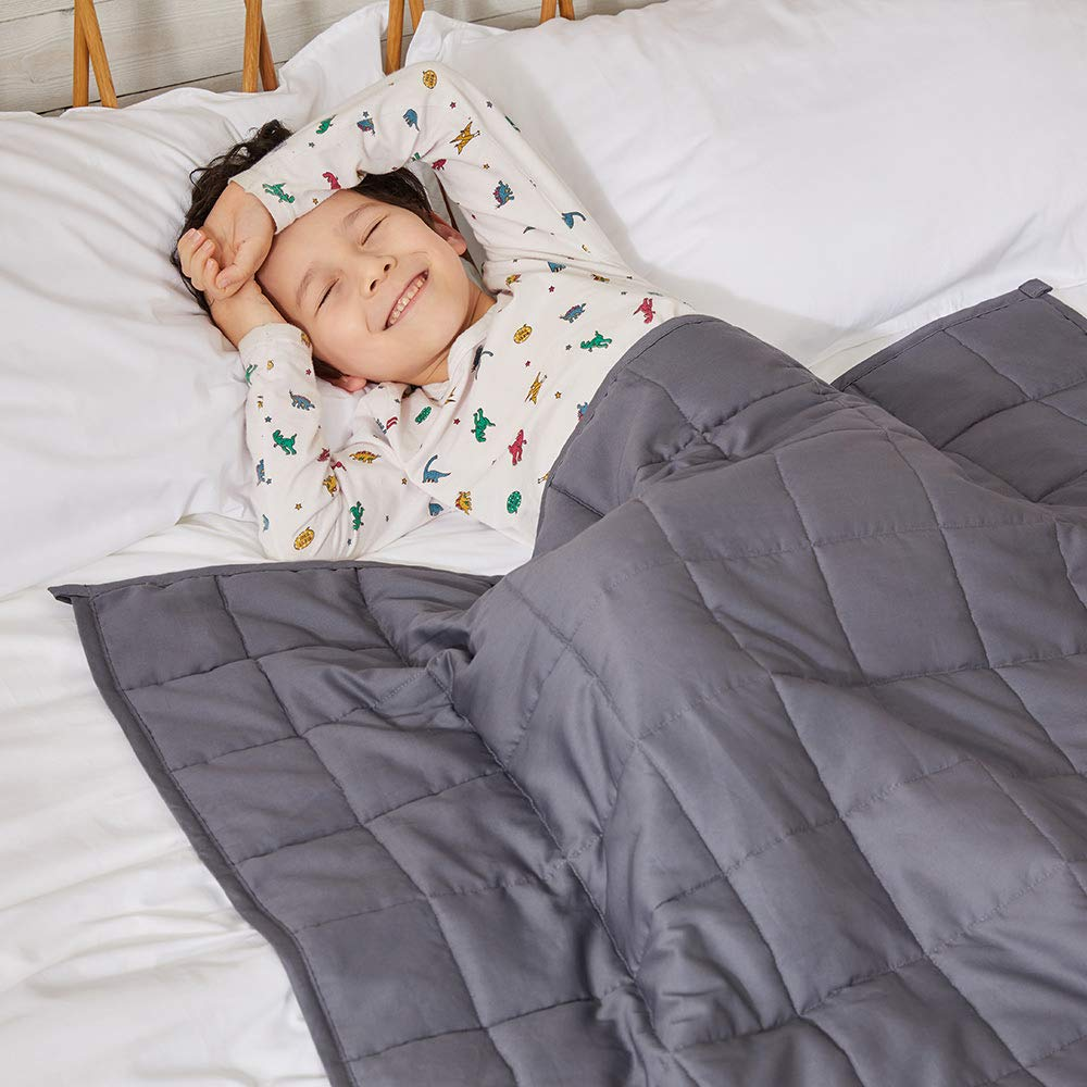 ZonLi Breathable Weighted Blanket for Couple  Soft Light Grey Cotton Inner with a Free Grey//Navy Minky Cover 80x87, 30lbs Fit King Sized Bed