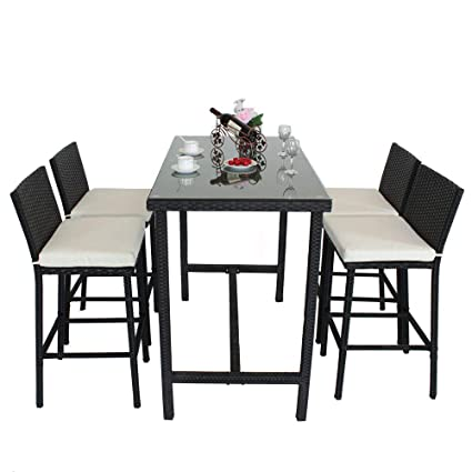 Fantastic Leaptime Patio Bar Stools Furniture Dining Set Rattan 1 Table 4 Stools Pe Wicker Bar Set Stools Table Set Garden Outdoor Set Black Wicker Beige Spiritservingveterans Wood Chair Design Ideas Spiritservingveteransorg