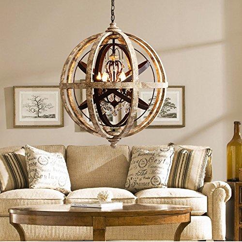 Lovedima Retro Rustic Weathered Wooden Globe Metal Orb Crystal 5-Light Pendant Lighting Chandelier Ceiling (Orb Crystal)