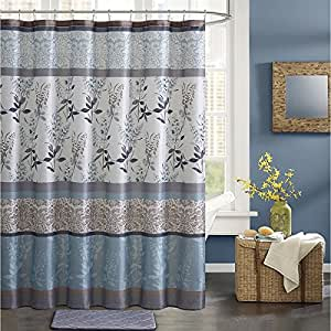 1 piece blue brown grey graphical nature for Nature inspired shower curtains