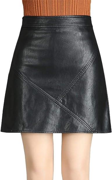 DISSA D8720 - Falda de Piel sintética para Mujer, con Cremallera ...