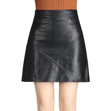 E-Girl ED8720 - Falda de Piel sintética con Cremallera para Mujer ...