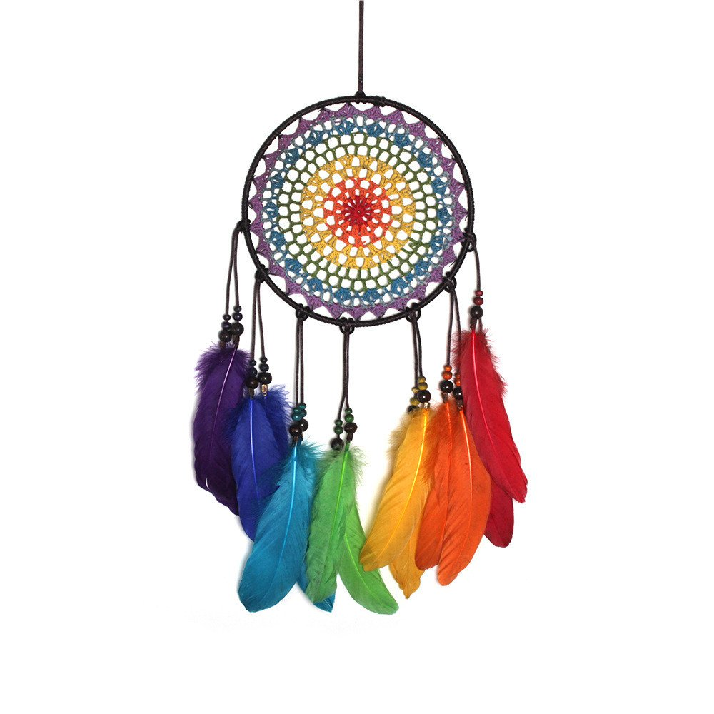 Sinfu Dream Catchers-Handmade Lace Dream Catcher Colorful Feather Bead Hanging Decoration Ornament Gift (Full Length:60cm, Multicolor)