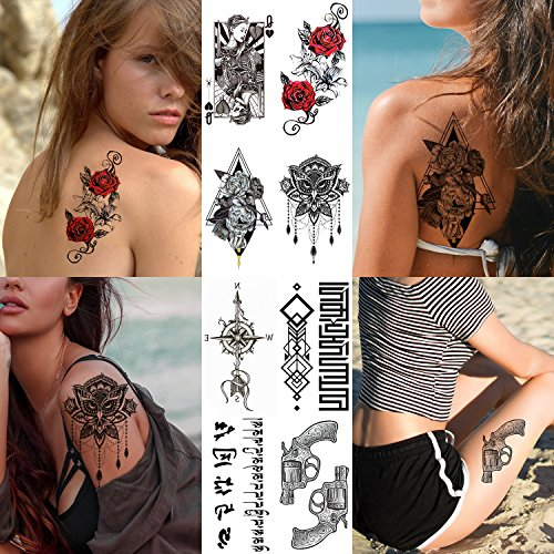 8 Sheets Temporary Tattoo Sticker For Women Girls Models Adults - Waterproof Long Lasting Body Art Makeup Sexy Realistic Arm Tattoos - Flower Rose Queen Gun Compass Words Necklace Owl