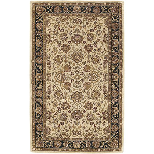 - Surya Ancient Treasures A-116 Classic Hand Tufted 100% Semi-Worsted New Zealand Wool Jet Black 3'3