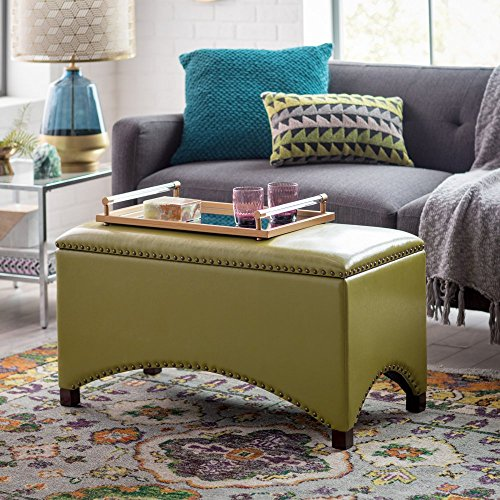 Premium Bonded Leather Storage Bench Ottoman Coffee Table Nailhead Accents Choose Color Contemporary Home Furnishings (Olive Green) (Green Leather Ottoman)