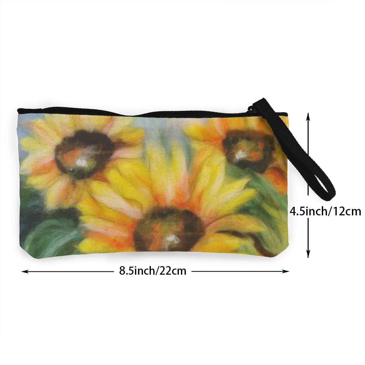 Canvas Cash Coin Purse,Beautiful Sunflower Print Make Up Bag Zipper Small Purse Wallets