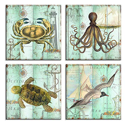 Teal Home Wall Art Decor - Ocean Theme Mediterranean Style Canvas Prints Framed and Stretched Ready to Hang Sea Animal Octopus Turtle Seabirds Crabs Pictures Posters Bathroom - 12 x 12 Panel Set of 4 (Ocean Decor Style)