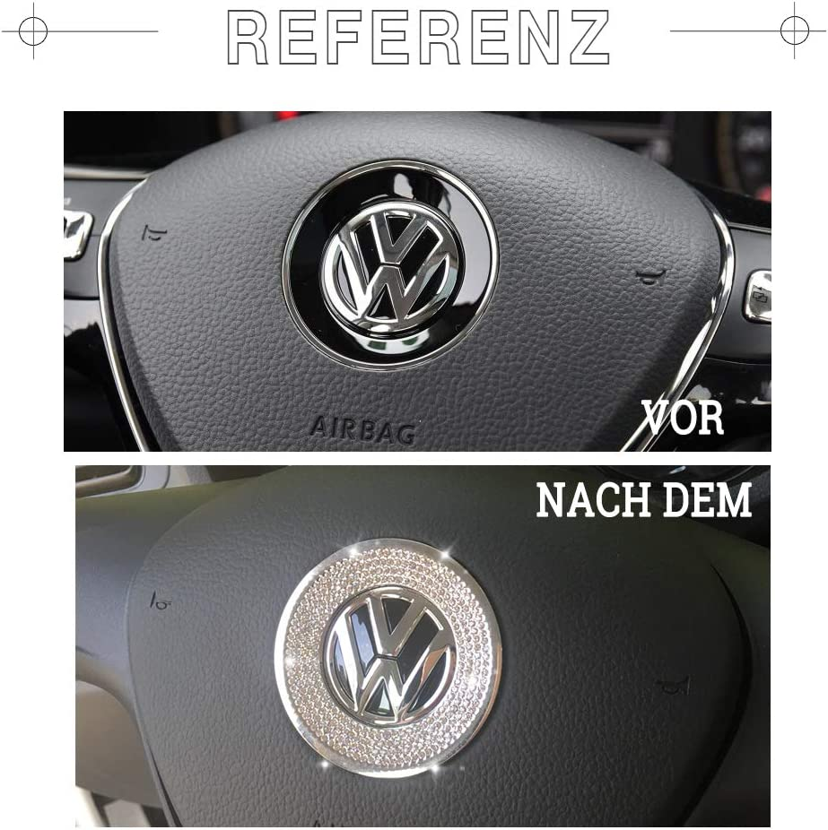 Vdark Compatible Lenkrad Logo Caps Decals Aufkleber Für Vw Volkswagen Zubehörteile Bling Jetta Passat Golf Tiguan Arteon Atlas Umfasst Innenausstattung Trim Kristall Silber Auto