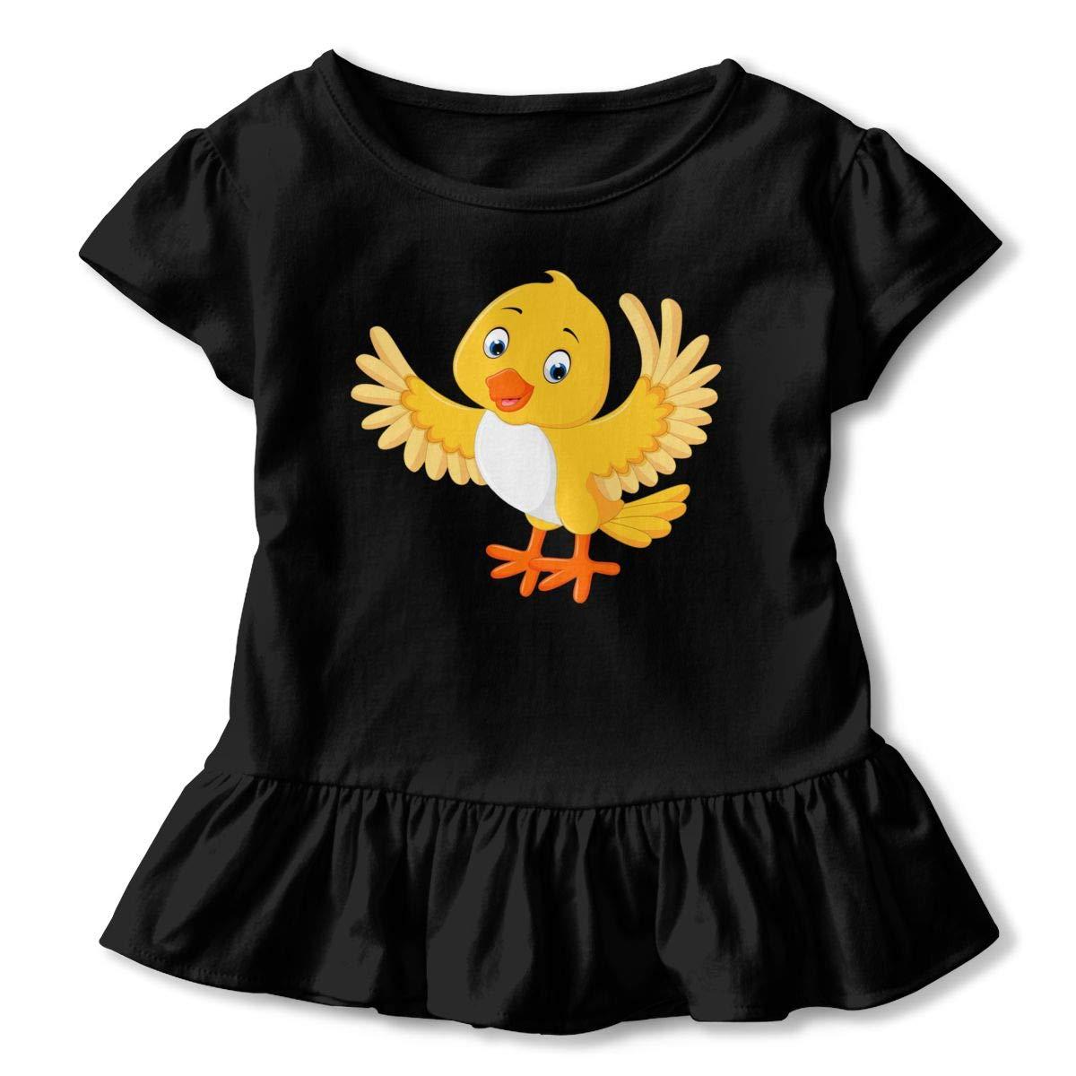 Cartoon Yellow Bird T-Shirt Kids Flounced T Shirts Cartoon Clothes for 2-6T Kids Girls