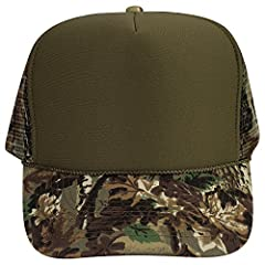 100% Polyester Front 100% Nylon Mesh Back 100% Cotton Visor The Traditional Look 5 Panel Cap Seamless Foam Front Panel with Lining Camouflage Cotton Visor 6 Rows Stitching on Visor Camouflage Mesh Back Matching Fabric Undervisor Matching Colo...