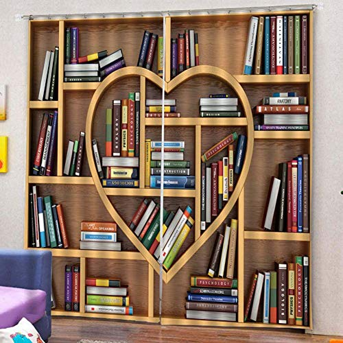 Window Curtains, yanQxIzbiu 2pcs Book Shelves Love Heart Light Blocking Window Curtain Balcony Patio Decor - ()