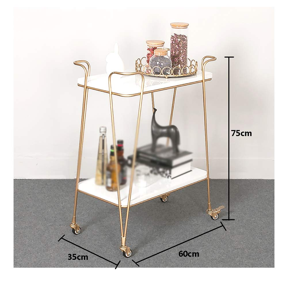 Nordic Wrought Iron Dining Car with Wheels, Kitchen Trolley Rack Sideboard Hotel Home Multi-Function Wine Cart, Anti-Rust and Durable Multi-Purpose by Kitchen Cart (Image #2)
