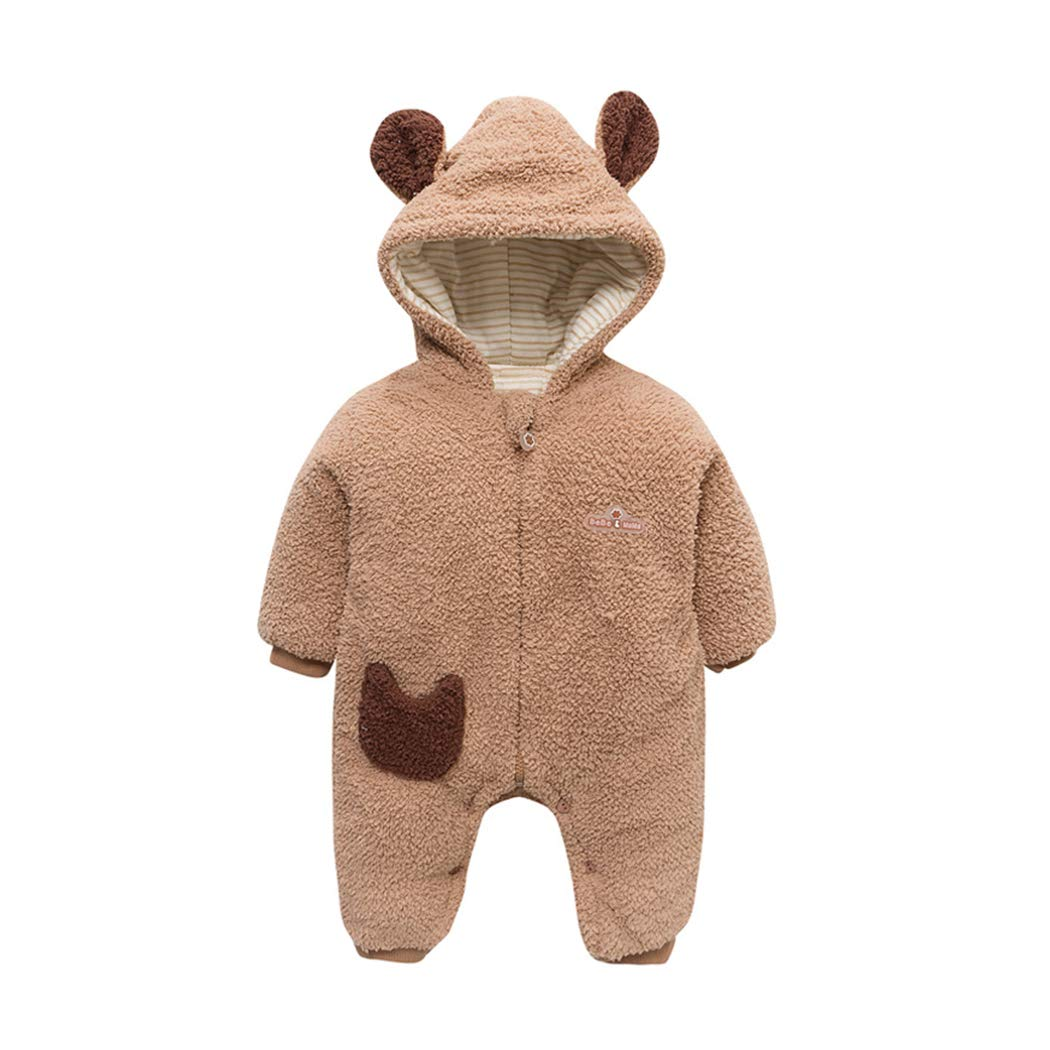 Raylans Baby Toddler Long Sleeve Cute Winter Bear Polyester Romper Outfits