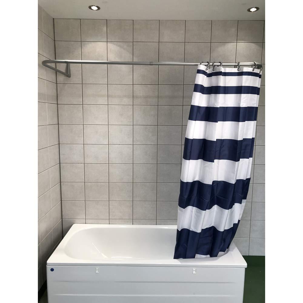 unterst/ützt ohne Halterung an der Decke Silber PVC-Beschichtung 70 x 165 x 70 cm Montage gegen die Wand silberfarben 100/% rostfrei Ericsindustrier Duschstange in U-Form