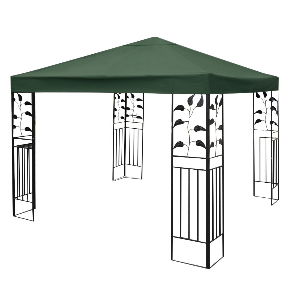 Costway 3x3m Garden Gazebo Top Cover Roof Replacement Tent Canopy Fabric 1-Tier 2-Tier (Beige / Dark Green / Red) (1-Tier, Beige)
