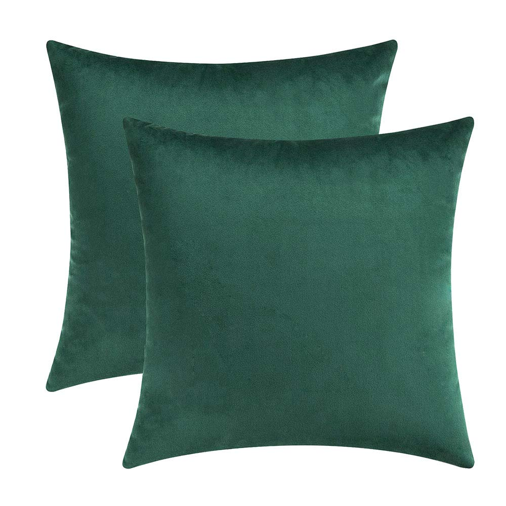 Super Soft Velvet Solid Dark Green Decorative Square Throw Pillow Covers Set Cushion Case For Sofa Couch Home Decor 20 X 20 Inches 50 X 50 Cm Ibusinesslaw Wood Chair Design Ideas Ibusinesslaworg