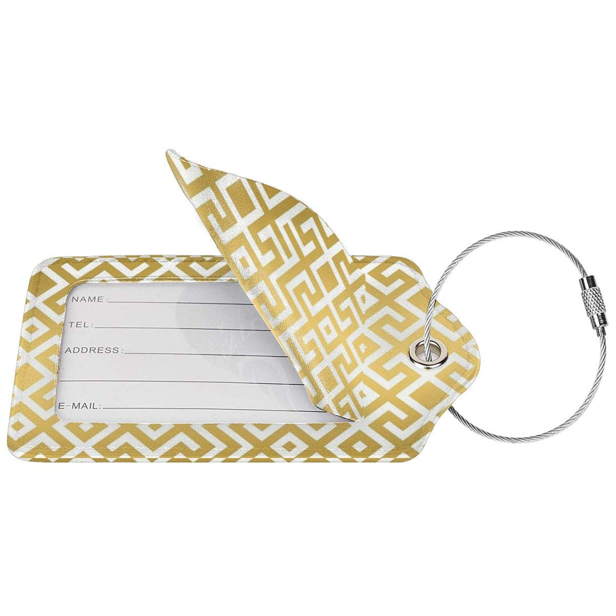 Key Tags for Cruise Ships Honeymoon Gift Leather Luggage Tags Full Privacy Cover and Stainless Steel Loop 1 2 4 Pcs Set Geometric Gold Bars Printed 2.7 x 4.6 Blank Tag