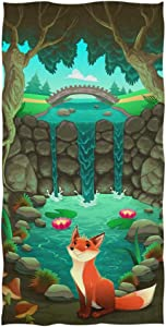 "Naanle Funny Cartoon Fox Forest Pond Print Festival Decor Soft Bath Towel Highly Absorbent Large Hand Towels Multipurpose for Bathroom, Hotel, Gym and Spa (16"" x 30"")"