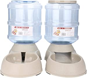Greensen Automatic Pet Feeder for Cats Dogs Water Bowl Dispenser, Auto Water Food Dispenser, 1 Gallon, Detachable, Beige