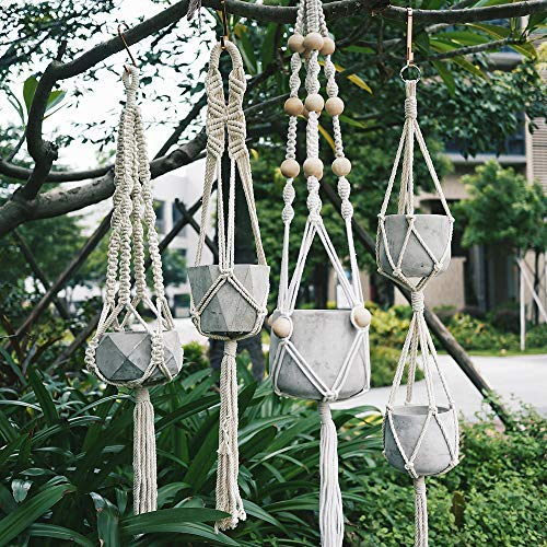 Macrame Plant Hangers 4 Pack, Different Designs Outdoor Indoor Planter Holders- Handmade Natural Cotton Rope Wall Hanging Planter Plant Holder for Decorative Balcony, Garden, Patio, Modern Boho