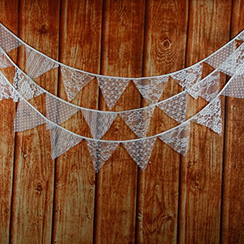 INFEI 3.2M/10.5Ft Mixed White Floral Lace Fabric Flags Bunting Banner Garlands for Wedding, Birthday Party, Outdoor & Home Decoration (White)