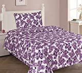 GorgeousHome (@#2) BUTTERFLY PURPLE Double Ruffle Girls Design Comforter or Sheet Set or Window Curtain Panel or Valance Kids/Teens Complete Your Set (3PC TWIN SHEET SET)