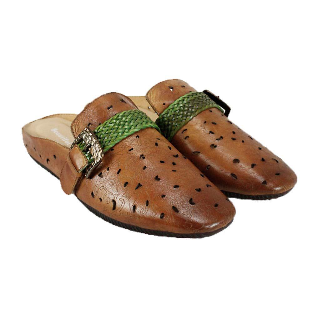 JLCP Sabots Mules Femme, Creux Chaussures décontractées Première Couche de de Peau de Vache Sandales Fond Mou Antidérapant Loisirs et Confort Chaussures de Plage,36  promotions promotionnelles