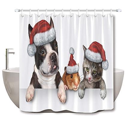 "72/"" Xmas Santa Hat Puppies Pugs Waterproof Fabric Shower Curtain Set Bath Decor"