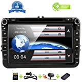 8 Inch Car Radio Touch Screen Double Head Unit Car Receiver Stereo In Dash GPS Navigation with Bluetooth CD DVD for Volkswagen VW Passat Golf MK5 Jetta Tiguan T5 Skoda Seat with Backup Camera