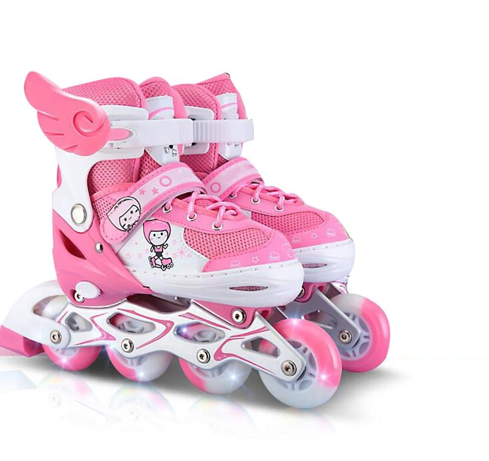 Inline Skates Adjustable ABEC-7 PU Wheels , pink , large by WY