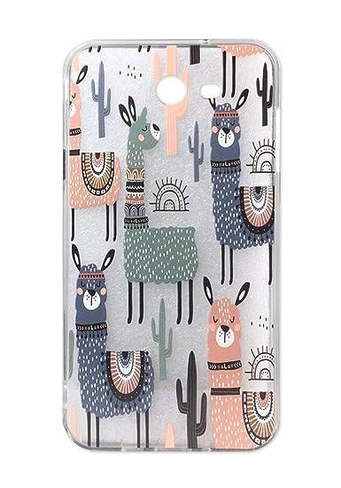 newest 9d258 8053b Galaxy J7 2017 Case, J7 Sky Pro Case, J7 Perx Case, Cute Pink Blue Llama  Cactus Design for Girls Clear Bumper Shockproof Flexible Silicone  Protective ...