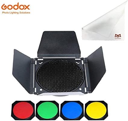 7 inch Standard Reflector Barn Door Honeycomb Grid with 4 Color Gels Filter for 18cm