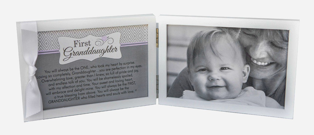 First Grandchild Picture Frame- White Double Hinged Tabletop Photo Frame Holds 4''x6'' Pictures or Ultrasounds- Includes Beautiful Sentiment/Poem and Accented White Ribbon (Granddaughter)