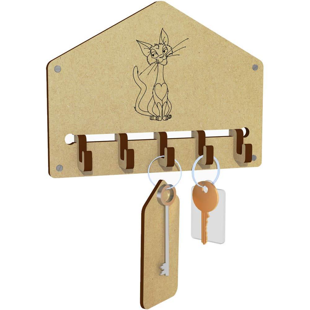 Halter Lächelnde Katze An der Wand befestigter Schlüsselhaken WH00031017