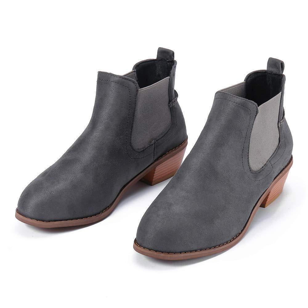 Botas de tobillo para mujer, botas de gamuza cuadradas de ...
