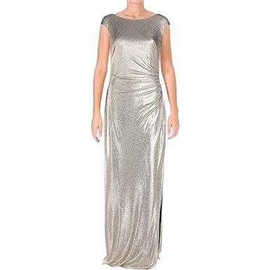97c40616182 LAUREN RALPH LAUREN Womens Walt Metallic Full-Length Party Dress Gold 2 at  Amazon Women s Clothing store