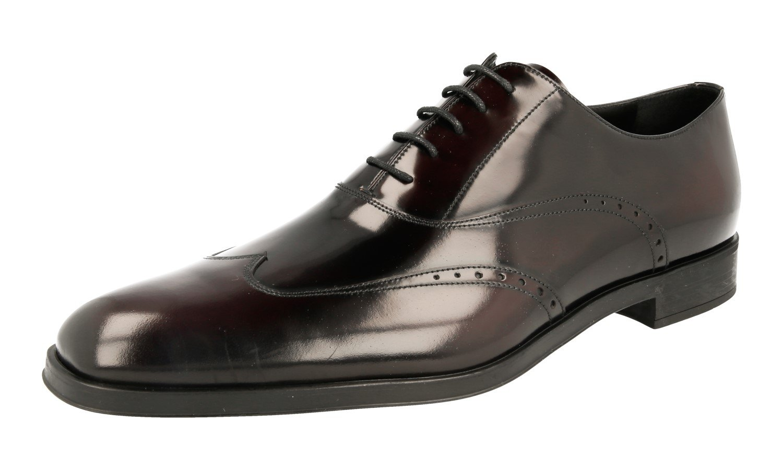 Prada Men's 2EC098 P39 F0397 Brown Brushed Spazzolato Leather Business Shoes EU 9 (43)/US 10
