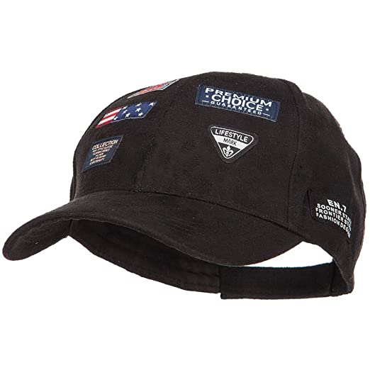 b0157022827 SS Hat Suede Baseball Cap with 7 Labels - Black OSFM at Amazon ...