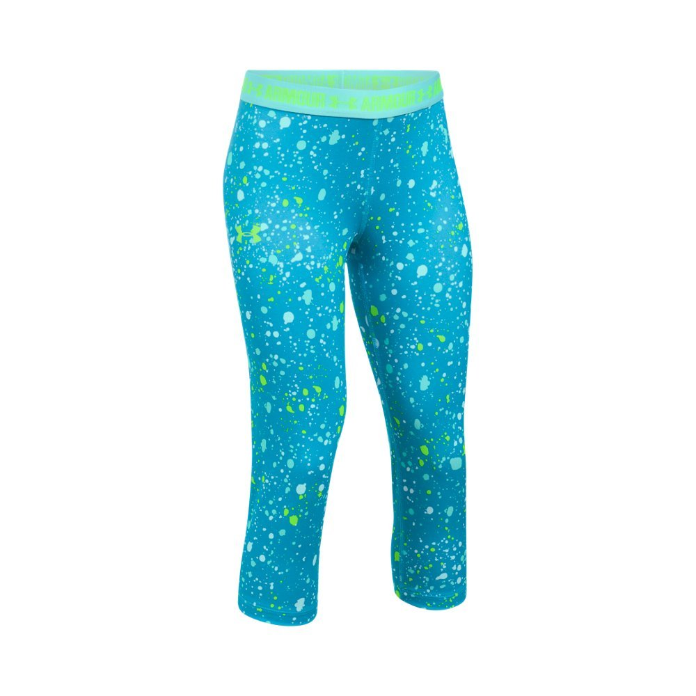 Under Armour Kids Girl's Printed Armour Capris (Big Kids) Blue Shift/Blue Infinity/Quirky Lime Pants