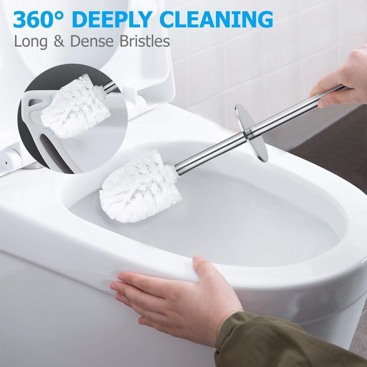 Scopino e portascopino per WC con Supporto in Acciaio Inox Perfetto per WC setole Forti Homemaxs