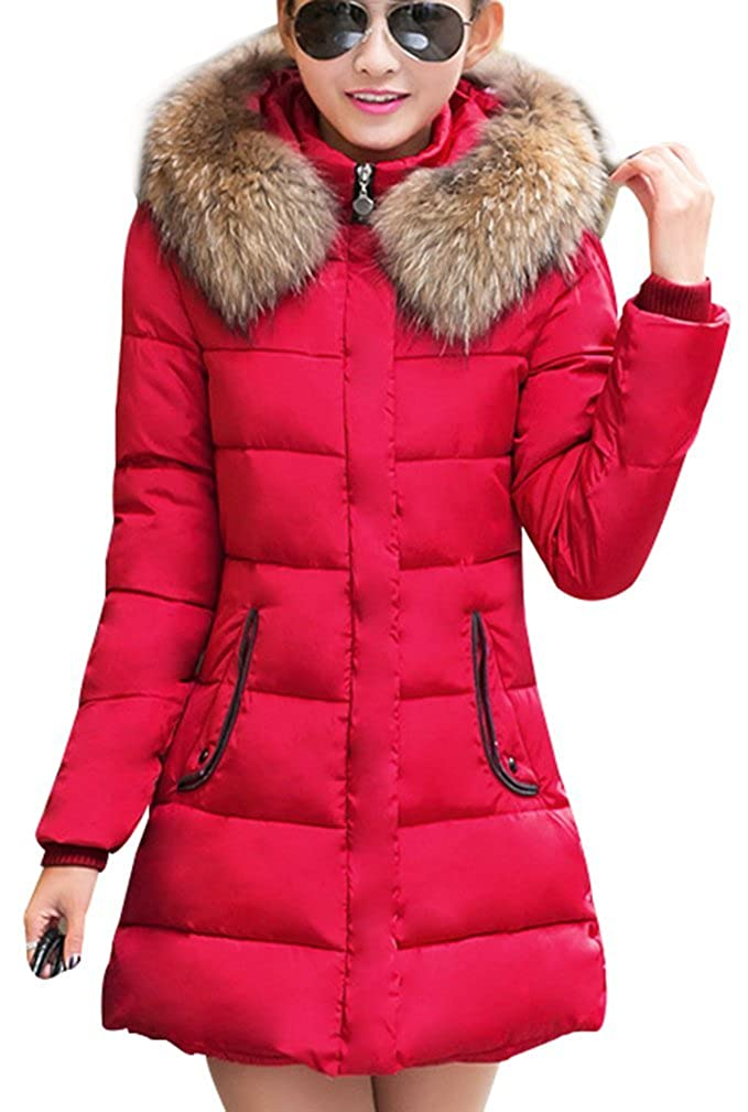 Women's Fur Hooded Quilted Padded Parka Jacket Winter