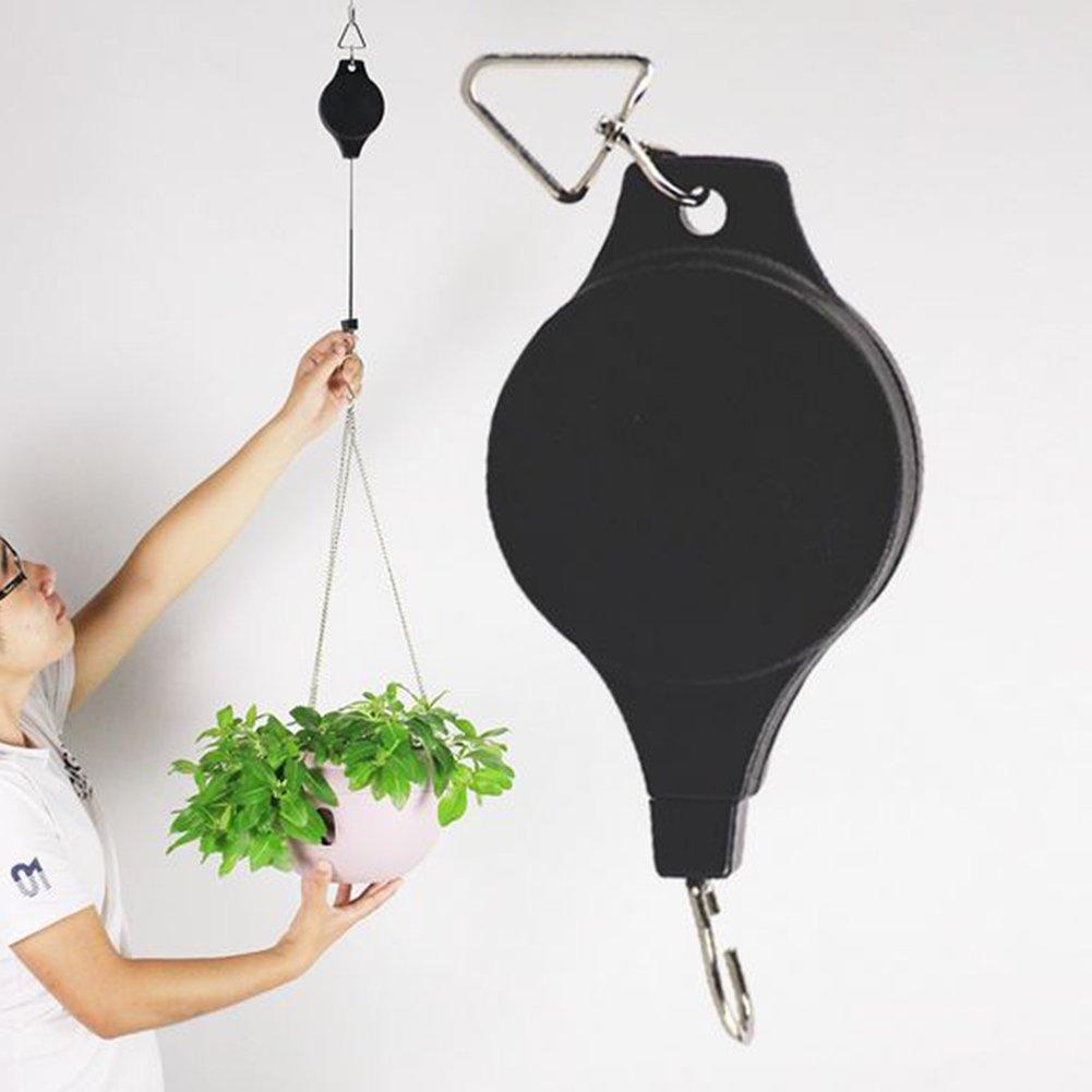 Kunststoff Pflanze Riemenscheibe Roll-Blumenampel Blume Korb Haken für Garten Töpfe, Schwarz Tookie