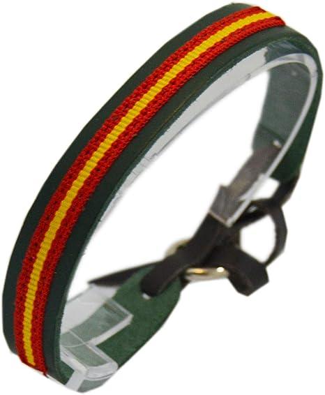 ALBERO Pulsera Guardia Civil Piel color Verde con Bandera de España. Cierre tira de Cuero.: Amazon.es: Ropa y accesorios