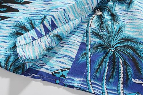 SSLR Camisa Blusa Mujer Hawaiana Manga Corta Casual Estampado Tropical Azul