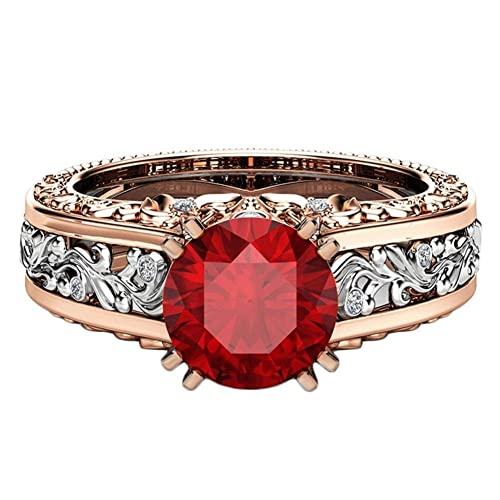 BIGBOBA Anillo de Mujer con Brillantes Rojo Diamante de ...
